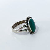 Vintage Scalloped Sterling Silver Aqua Agate Oval Stone Artsy Ring Side