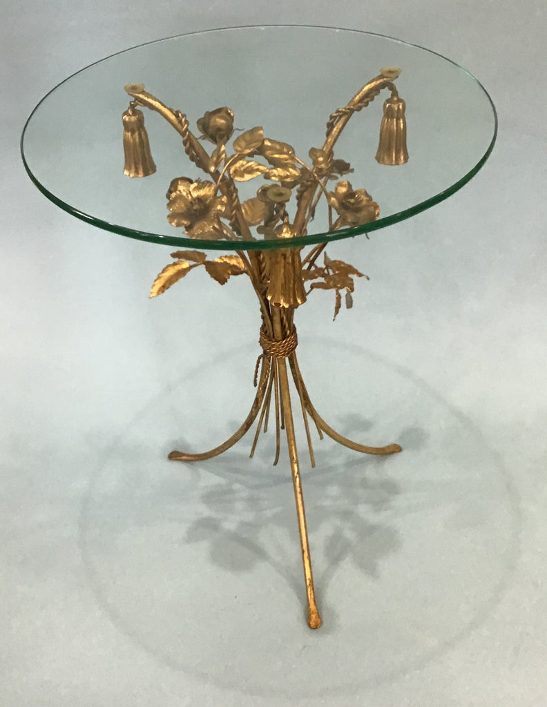 A Vintage Hollywood Regency Gilt Metal Side Table, Italian circa 1960