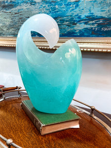 Ombré Ocean Turquoise Glass Wave Pate de Verre Vase by Daum, France