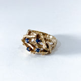 Vintage 14K Yellow Gold Blue Sapphire Egg Nest Wood Textured Art Ring Side 2