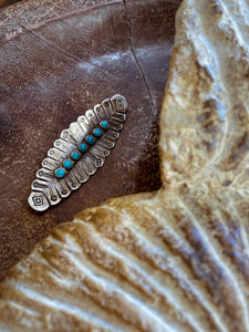 Vintage Sterling Silver Abstract Feather Turquoise Center Brooch Pin
