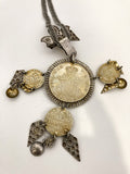 Vintage 1970s Antique Denmark Coins Silver Gold Toned Pendant Necklace Close Up of Back