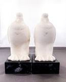 Pair of 1920s Antique Italian Carved Marble Doves Bird Bookends Front