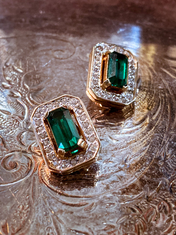 Vintage Panetta Hollywood Glam Rhinestone Emerald Clip On Earrings