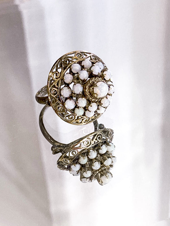 Faux-Opal Multi-Tier Domed Ring | Vintage Costume Jewelry