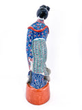 20th Century Colorful Hand Painted Lady Reading Chinese Figurine Sculpture Back