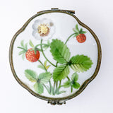 Vintage Limoges Wild Strawberry Hand Painted Porcelain Pill Box, France Top