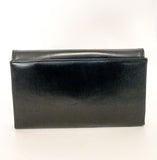 Classic Black Belgium Leather Suede Lined Medium Clutch Hand Bag Back