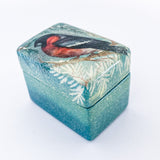 Hand Painted Russian Lacquer Bullfinch Winter Snow Bird Pill Ring Box Slight Angle