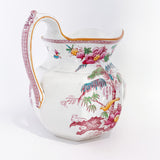 19th Century Antique Wedgwood Flowers Birds English Porcelain Pitcher Slightly Turned To See Handle