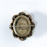 Antique Victorian Gold Filled Rotating Double Photo Mourning Brooch Pin