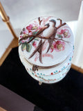 Antique 19th Century English Hand Tinted Swallow Apple Blossom Glass Ring Box