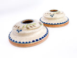 20th Century Antique Bonito Hand Painted Weller Ceramic Candlesticks Slightly Side Angle