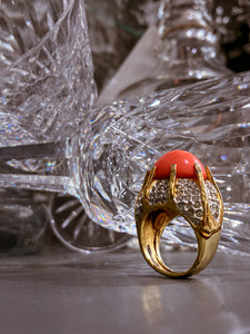 Vintage Kenneth Lane Rhinestone Coral Gold Costume Statement Ring