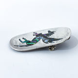 Vintage Mexico Sterling Silver Pegasus Horse Inlay Brooch Pendant Pin Side