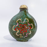 20th Century Feng Shui Koi Mystic Knot Chinese Green Enamel Snuff Bottle Mystic Knot Side