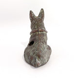 Vintage Cast Metal Seated Scottish Terrier Pen Holder Dog Figurine Back