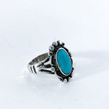 Vintage Sterling Silver Framed Oval Turquoise Stone Ring Size 5.5 Slightly Turned 2