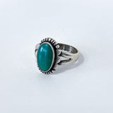 Vintage Scalloped Sterling Silver Aqua Agate Oval Stone Artsy Ring Slightly Angled