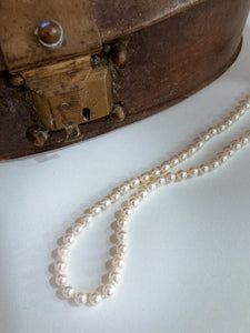 Vintage 14K Gold Almond Clasp Cream Cultured Pearl Strand Necklace