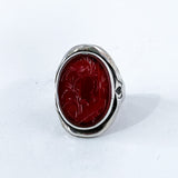 Vintage Sterling Silver Bamboo Carved Red Carnelian Large Oval Ring Front