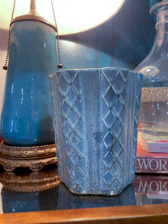 Antique 1931 Rookwood Aqua Glaze Ruffled Rim Lattice Ceramic Vase 6266