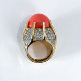 Vintage Kenneth Lane Rhinestone Coral Gold Costume Statement Ring Profile