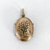 Antique Gold Filled Oval Floral Engraved Mourning Hair Locket Pendant Front
