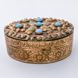 Vintage Italian Gold Gilt Metal Turquoise Glass Decorative Oval Pill Box
