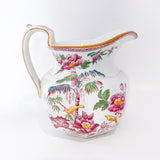 19th Century Antique Wedgwood Flowers Birds English Porcelain Pitcher Side 1