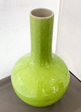 Vintage Crackle Glaze Apple Green Vase, Chinese Artisan