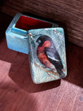 Hand Painted Russian Lacquer Bullfinch Winter Snow Bird Pill Ring Box