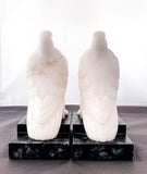 Pair of 1920s Antique Italian Carved Marble Doves Bird Bookends Back