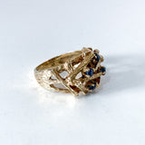 Vintage 14K Yellow Gold Blue Sapphire Egg Nest Wood Textured Art Ring Side 1