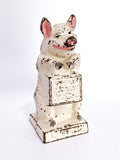 Antique The Wise Pig Thrifty Cast Iron Original Painted Piggy Bank Front Slightly Turned