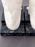 Pair of 1920s Antique Italian Carved Marble Doves Bird Bookends Tail Close Up