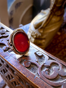 Vintage Sterling Silver Bamboo Carved Red Carnelian Large Oval Ring