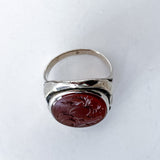 Vintage Sterling Silver Bamboo Carved Red Carnelian Large Oval Ring Top