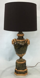 A Vintage Louis XV Style Green Marbleized Urn Fitted as Lamp, 1970's
