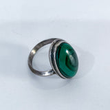 Vintage Domed Oval Swirling Rich Green Malachite Sterling Silver Ring Slightly Above