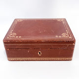 Vintage Tooled Gold Decorated Tan Leather Italian Velvet Jewelry Box Front