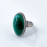 Vintage Domed Oval Swirling Rich Green Malachite Sterling Silver Ring Slightly Angled Front