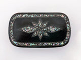 19th Century Antique Abalone Shell Inlay Papier-Mache English Snuff Box Lid