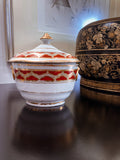Antique English Gilt Gold Iron Red Decorated Covered Sugar Bowl