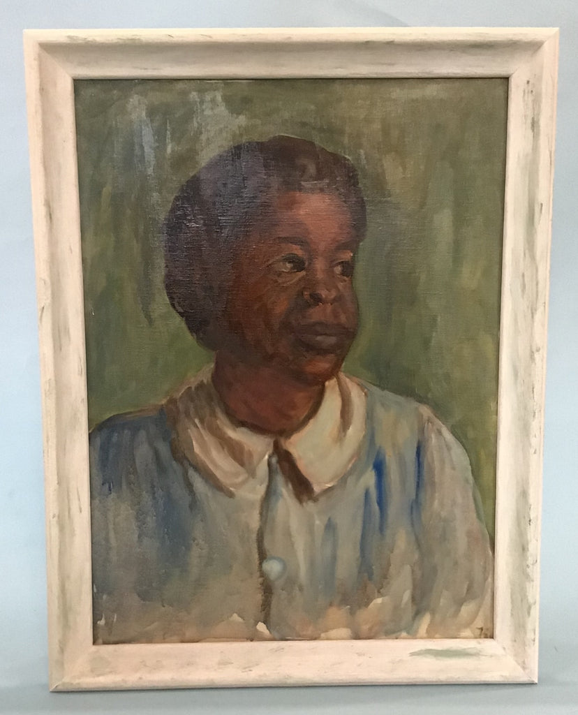 A Portrait of a Domestic, Oil on Artist Board, Dr. Salus Circa 1950