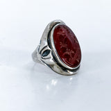 Vintage Sterling Silver Bamboo Carved Red Carnelian Large Oval Ring Side 1