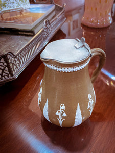 1850s Antique English White Flora Tan Syrup Jug by Dudson Pottery