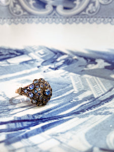 Vintage 10K Gold Tiered Blue Sapphire Princess Thai Dazzling Ring