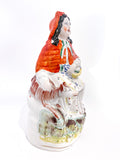 19th Century Antique Staffordshire Little Red Riding Hood Figure English Sculpture Side 2