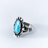 Vintage Sterling Silver Framed Oval Turquoise Stone Ring Size 5.5 Slightly Turned